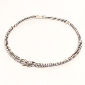 David Yurman Diamond X Crossover Choker Necklace